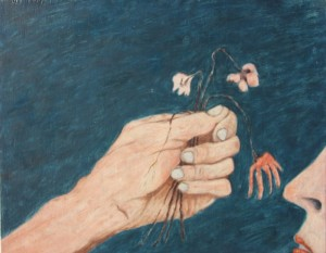 041.  'gift of scent', oil on board, 19x24ins, 2007