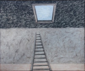 044. ongoing studio series 23, 'studio exit', oil on board, 20x24ins 2007