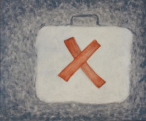046. (ongoing studio series 21)  'studio last aid kit', oil on board, 20x24ins, 2007