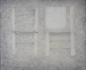 050. (ongoing  studio series 17) 'studio seating', oil on board, 20x24ins, 2007