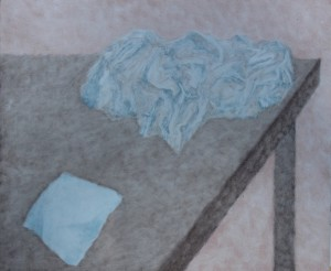 055. (ongoing  studio series 12)  'studio table with rag and waste paper', oil on board, 20x24ins, 2006