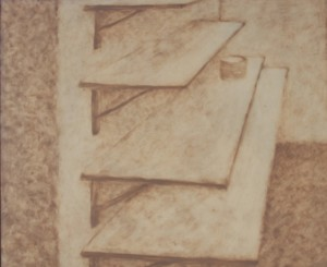 058. (ongoing  studio series 9)  'studio shelves', oil on board, 20x24ins,  2006