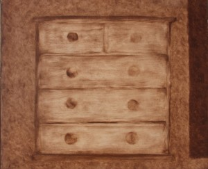 060. (ongoing studio series 7)  'studio plan chest',  oil on board, 20x24ins,  2006