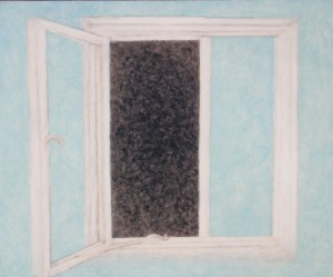 063. (ongoing  studio series 4)  'studio window on the world', oil on board, 20x24ins,  2006