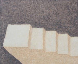 065. (ongoing studio series 2) 'steps to studio entrance', oil on board, 20x24ins, 2006