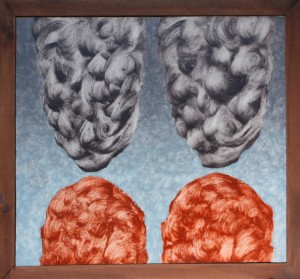 070.  'twins with their clouds', oil on board, 19x17 ins., 2005