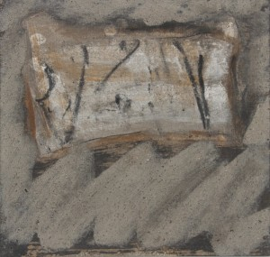 087.  'threshold exit', wood ash on paper, 10x11 ins.,  2003