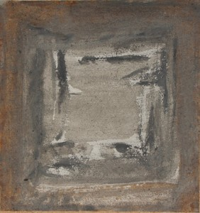 088.  'window threshold', ash and acrylic on paper, 10x11 ins.,  2003