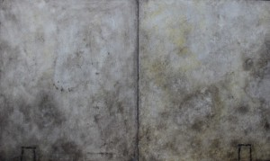 091. 'entrance-exit-threshold',  diptych, wood ash and medium on boards,each panel 24x20ins, 2003