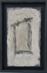 092.  2 'receding threshold', ash and mixed media on wood, 25x17ins, 2003