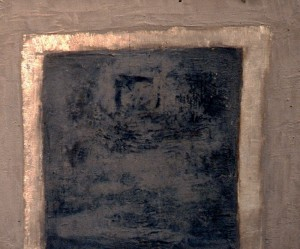 095. 'door to distant threshold', wood ash and mixed media on board, 20x24ins, 2002
