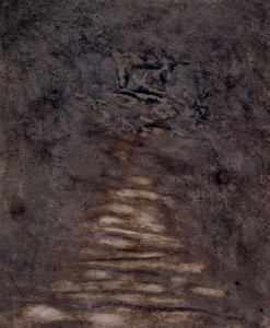 097.  'path to threshold' ash and mixed media on board,24x20ins, 2002