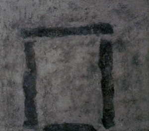 099.  'firm threshold', wood ash and medium on board,28x32ins, 2002