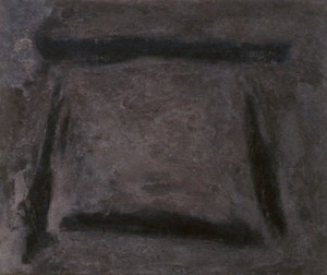 101. 'wide threshold', wood ash and medium on board, 20x24 ins., 2001