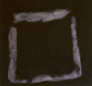 105.  'threshold 1' wood ash and medium on canvas, 30x32ins 2001