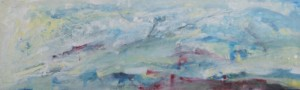 106.  'flowing past', oil on canvas on board, 16x52ins, 2001
