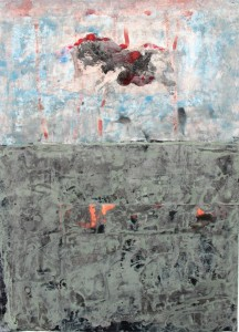 138.  'not a cloud in sight', mixed media on paper, 2001