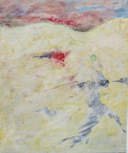 139.  'run past', mixed media on paper, 18x15 ins., 2001