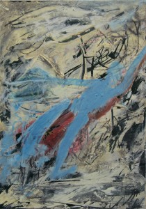 140.  'rising falling', mixed media on paper, 12x8 ins., 2001