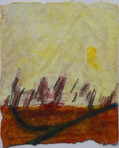 145.  'forking path', mixed media on paper, 10x8 ins., 2000