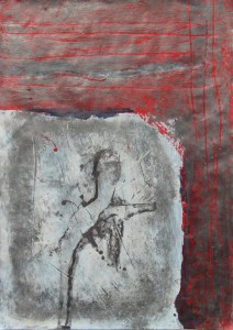 146.  'blocked figure', mixed media on paper, 12x8 ins., 2000