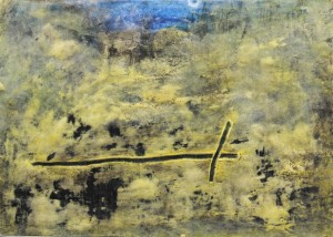 147.  'vale and plough', mixed media on paper, 2000
