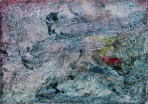 150A 'rocky bluestone', mixed media on paper, 12x16 ins., 2000