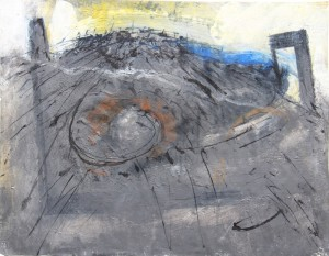 151.  'remains', mixed media on paper, 10x13 ins.,1999