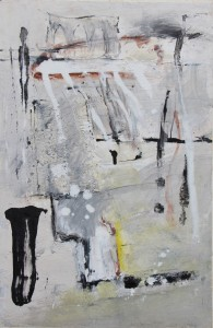 152.  'lost abbey', mixed media on paper, 20x14 ins., 1999
