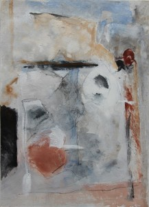157.  'site building', mixed media on paper, 14x10 ins., 1999