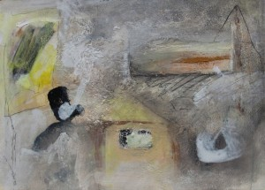 158.  'room with views', mixed media on paper, 10x14 ins., 1999