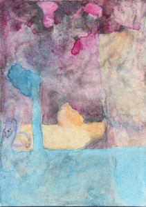 159.  'twixt tree and rock', water colour on paper,  10x7 ins., 1999