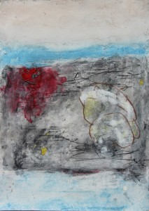 161.  'moraine', mixed media on paper, 8x12 ins., 1998