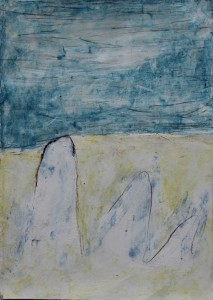 164. 'finger-rocks', mixed media on paper, 12x8 ins., 1998