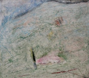 180.  'scarred scarp', mixed media on paper, 15x18 ins., 1996