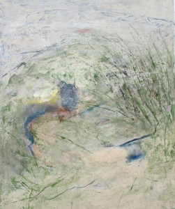 183.  'stream and copse', mixed media on paper, 18x15 ins., 1996