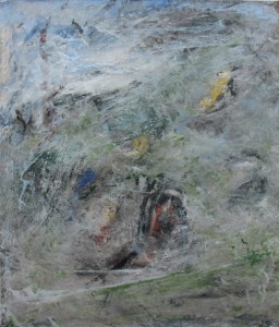 184.  'beyond the field', mixed media on paper, 18x15 ins.,  1996