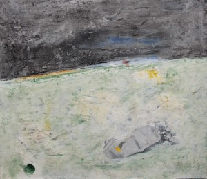 185.  'minatory', mixed media on paper, 15x18 ins., 1995