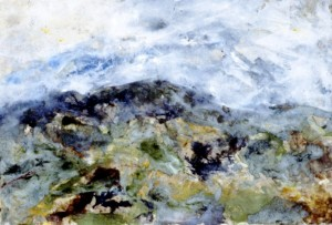187. 'foel cwm cerwyn', mixed media and collage on paper, 14x20ins, 1995