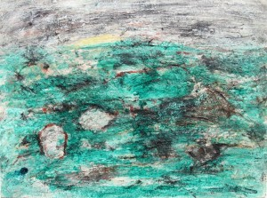 190. 'karstic', mixed media on paper, 12x16 ins.,  1995