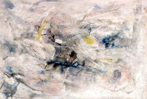 199.  'flash mist', mixed media on paper, 15x22 ins., 1994