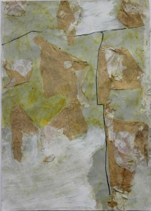 205.  'up and over', mixed media and collage on paper, 12x8 ins., 1993