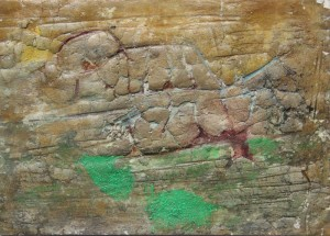 206.  'weathered', mixed media on paper, 6x8 ins., 1993