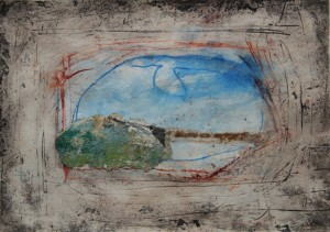 207.  'through see', mixed media and collage on paper, 6x8 ins.,  1993