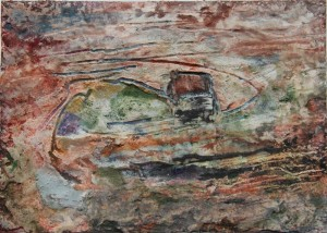 208.  'tracking', mixed media on paper, 6x8 ins., 1993