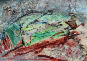 209. 'many layers', mixed media and collage on paper, 6x8 ins.,  1993