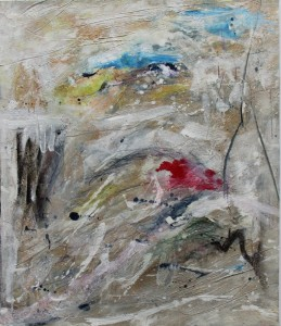 212.  'brief respite', mixed media on paper,  18x15 ins., 1992