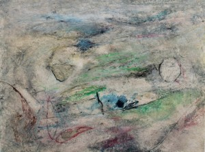 214.  'marshy', mixed media on paper, 12x16 ins.,  1992