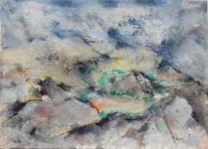 215.  'suddenly sun', mixed media on paper, 11x15 ins., 1992