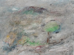 218. 'base  moraine', mixed media on paper, 12x16 ins.,  1992